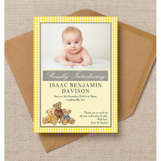 Teddy Bears' Picnic Photo Birth Announcement Card