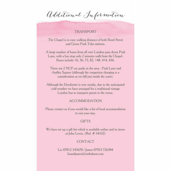 Cherry Blossom Guest Information Card