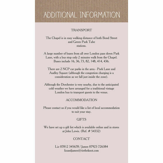 Rustic Lace Bunting Guest Information Card