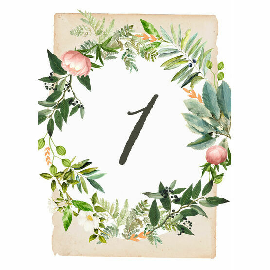 Flora Wreath Table Number