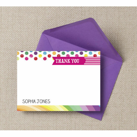 Rainbow Fiesta Thank You Cards